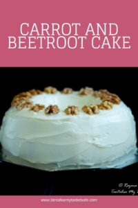 Carrot and beetroot cake with cream cheese frosting and walnuts