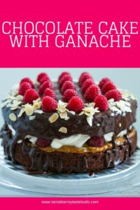 Chocolate cake with ganache topping, raspberries and flaked toasted almonds