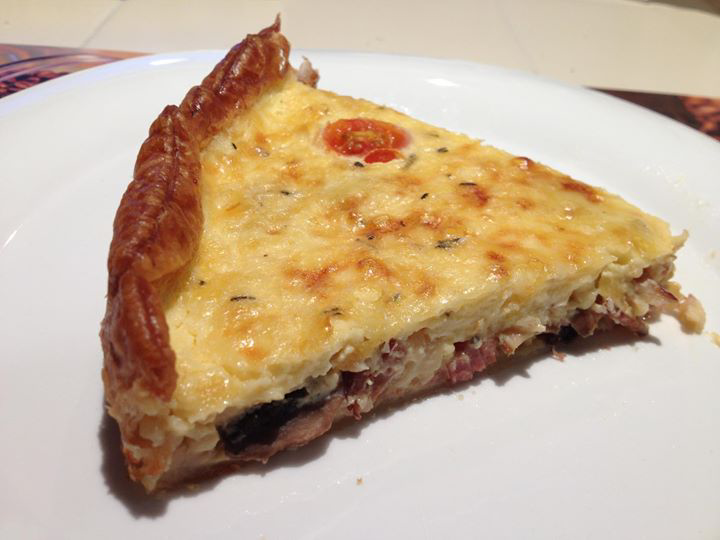 Veal bacon and gruyere tart