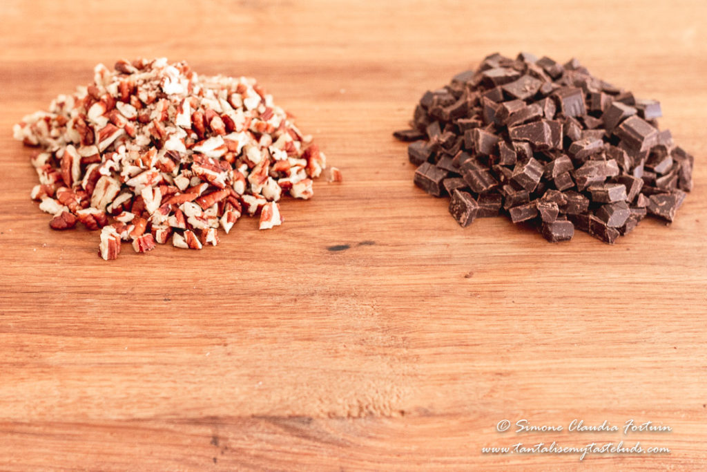 Chopped pecans and dark chocolate