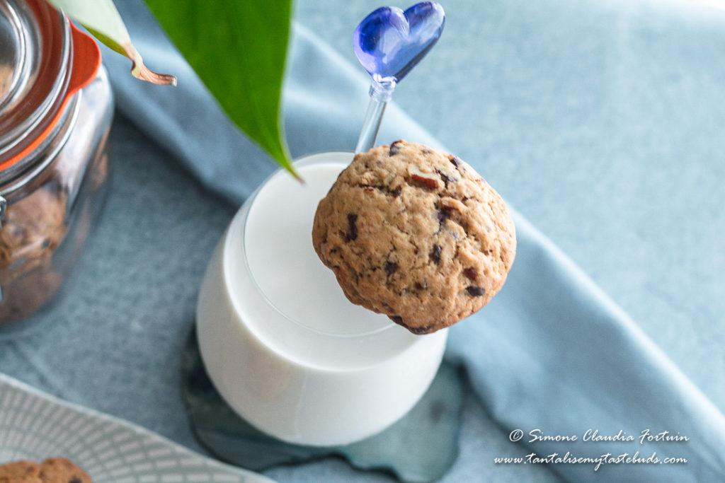 Chocolate Chunk Pecan Cookie and milk