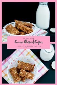 Crispy Oat and Coconut Crunchie recipe with milk pin1