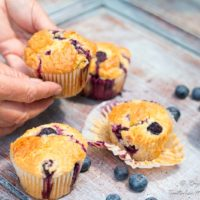 Hands holding moist Blueberry Muffins