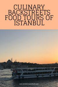 Bosphorus ferry boat at sunset