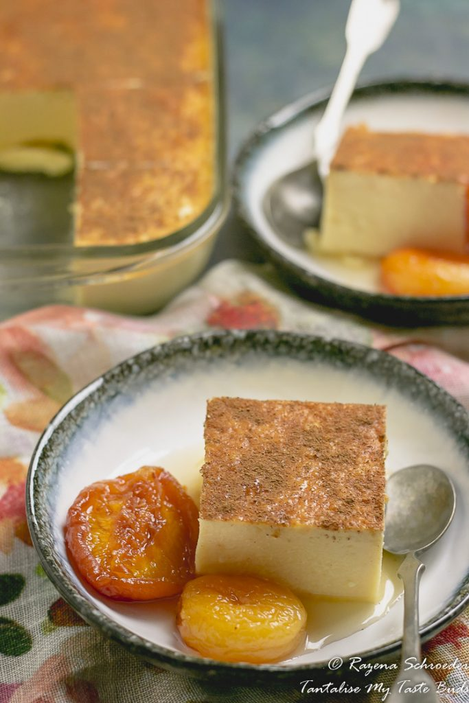 Cape Malay Potato Pudding with stewed dried fruit