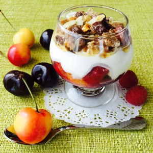 Cherry and raspberry breakfast sundae 1