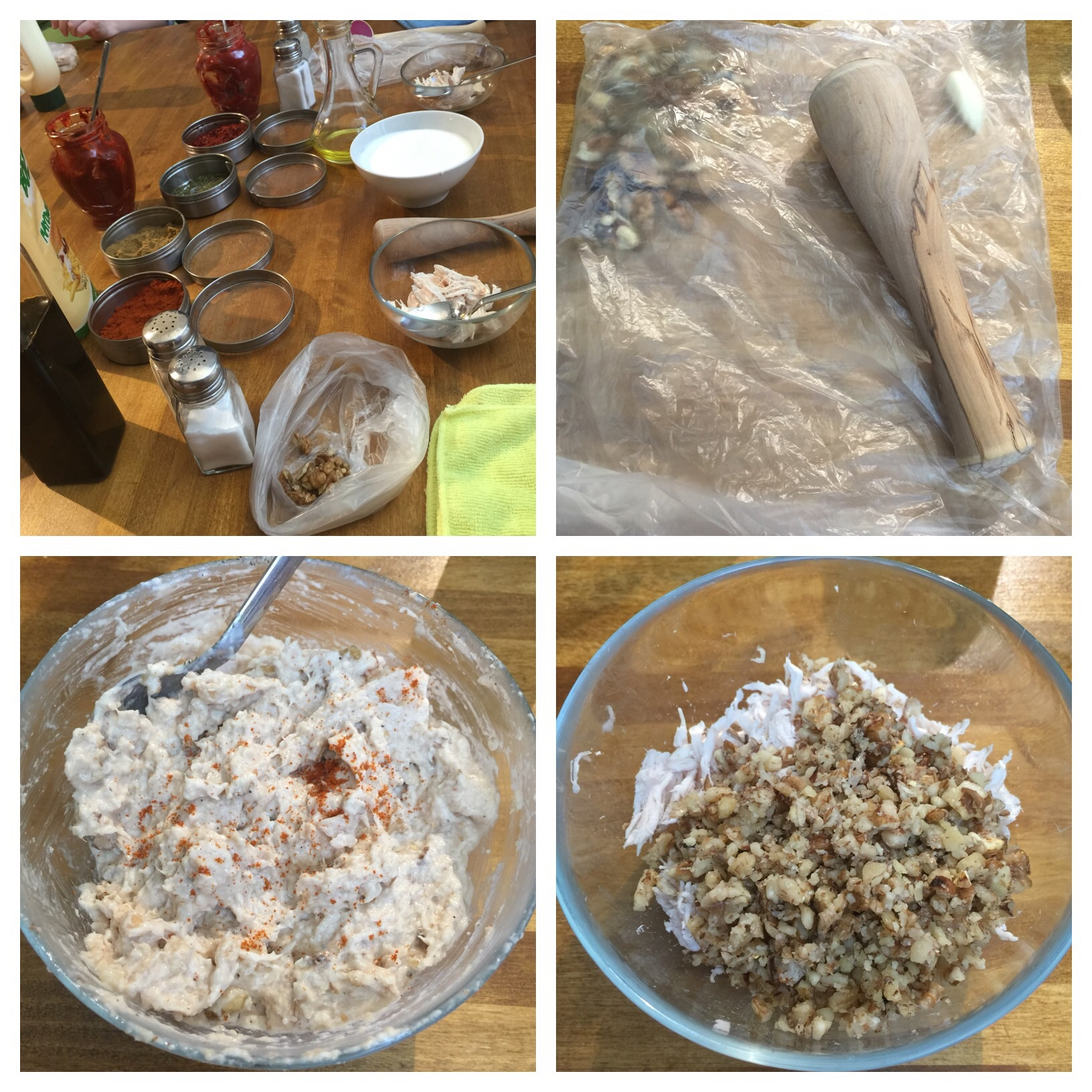 Step by step how to make Circassian chicken salad