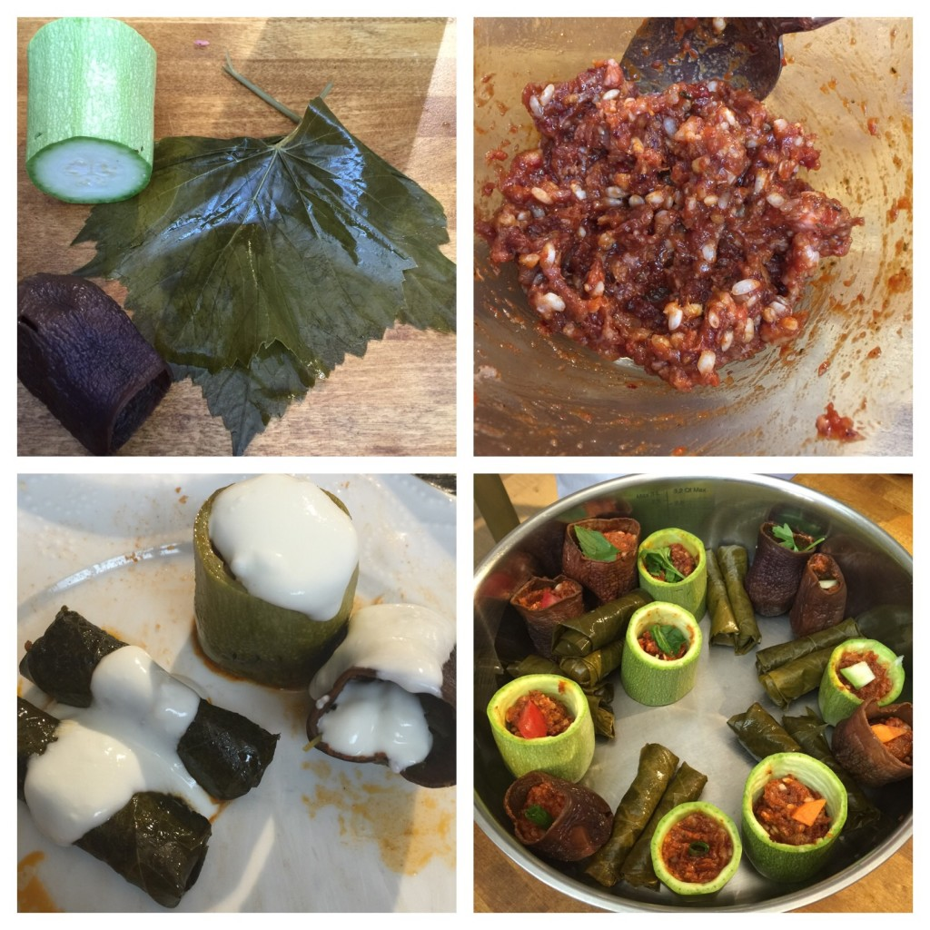 Step by step how to make Stuffed dried eggplants, courgette and vine leaves
