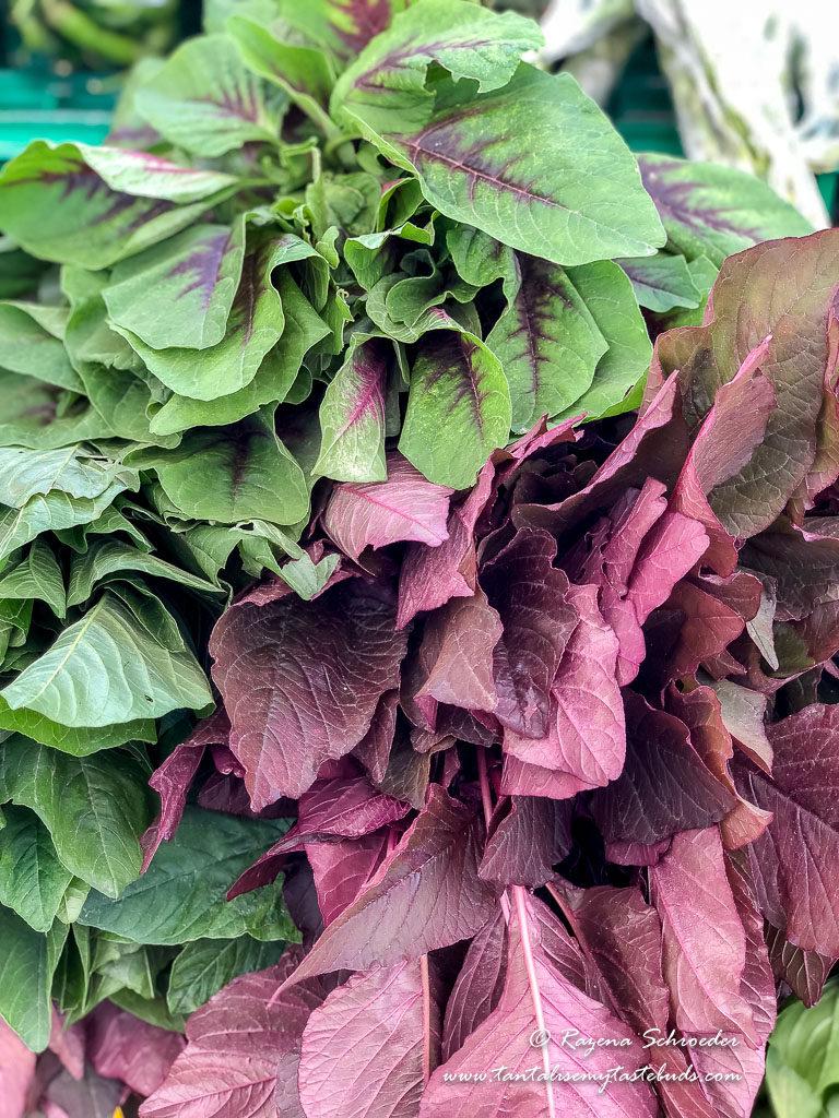 Leafy green and purple veg