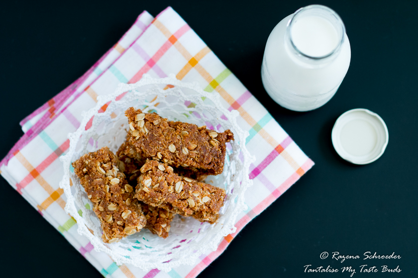 Crunchies - oat and coconut cookies with milk