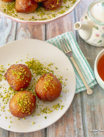 Cardamom bollas with saffron syrup