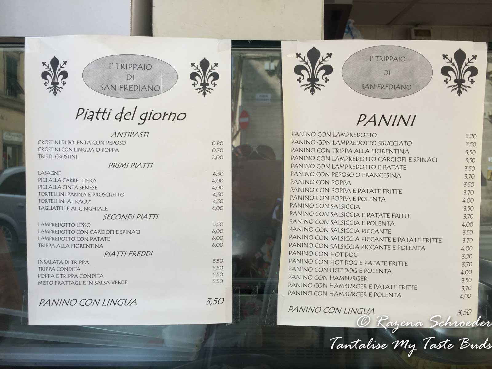 I' Trippaio di San Frediano menu on Florence food tour