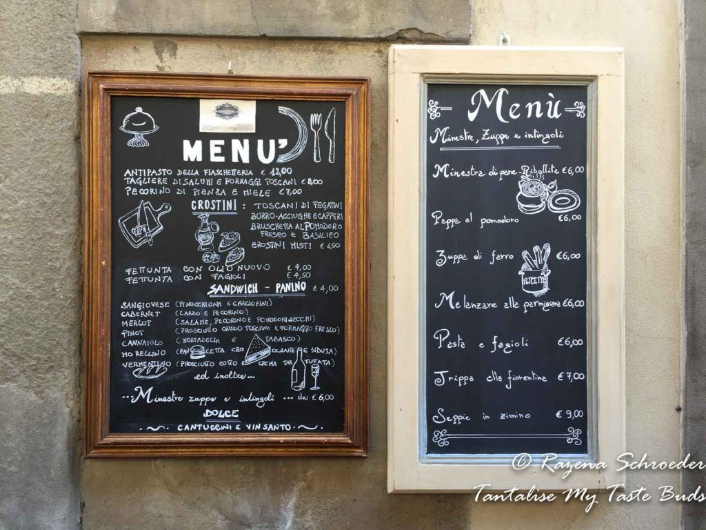 Fiaschetteria Fantappié menu on Florence food tour