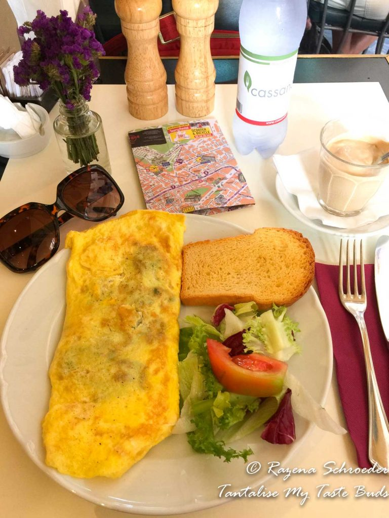 Mushroom omelette, salad and toast