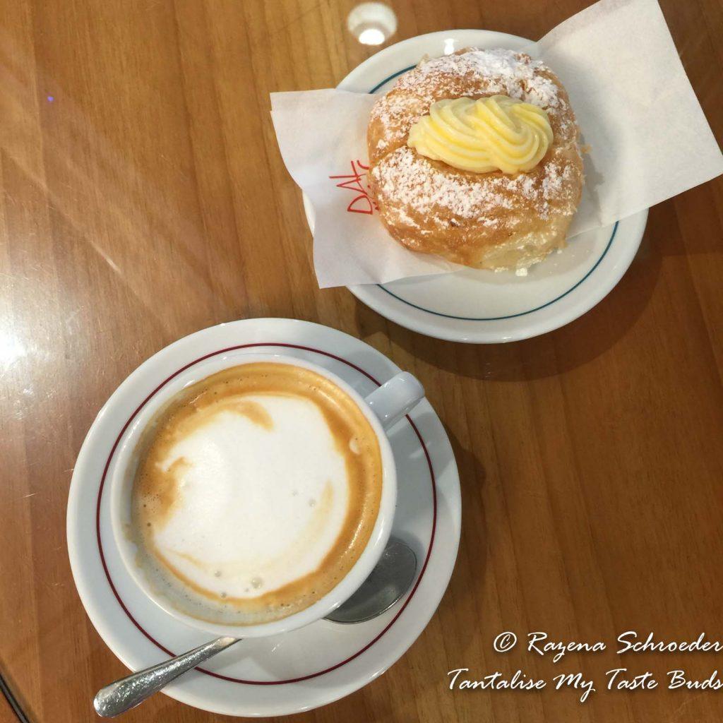 Cappuccino and croissant alla crema