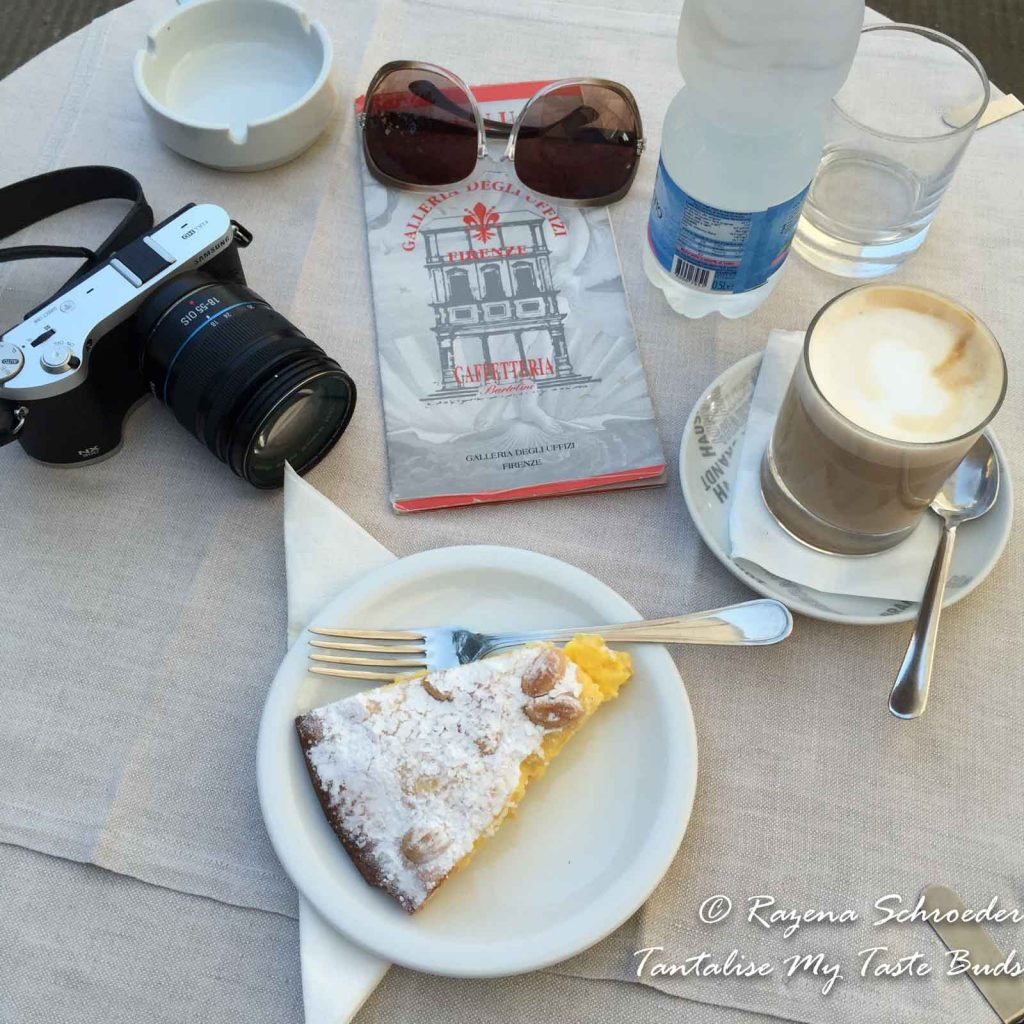Torta della Nonna and Machiatone at Uffizi gallery rooftop cafe