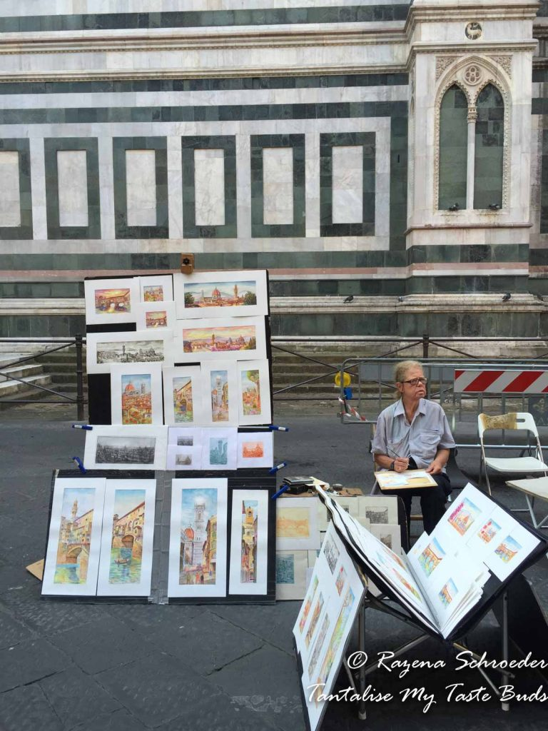 Artists outside Il Duomo Florence
