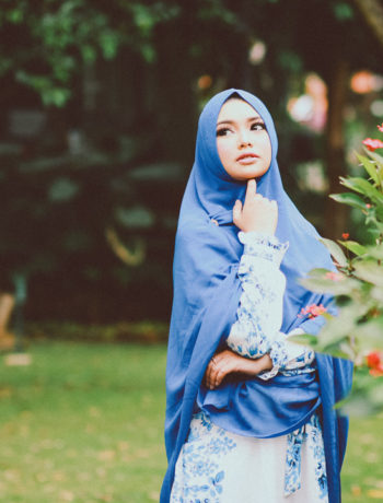Lady in blue hijab