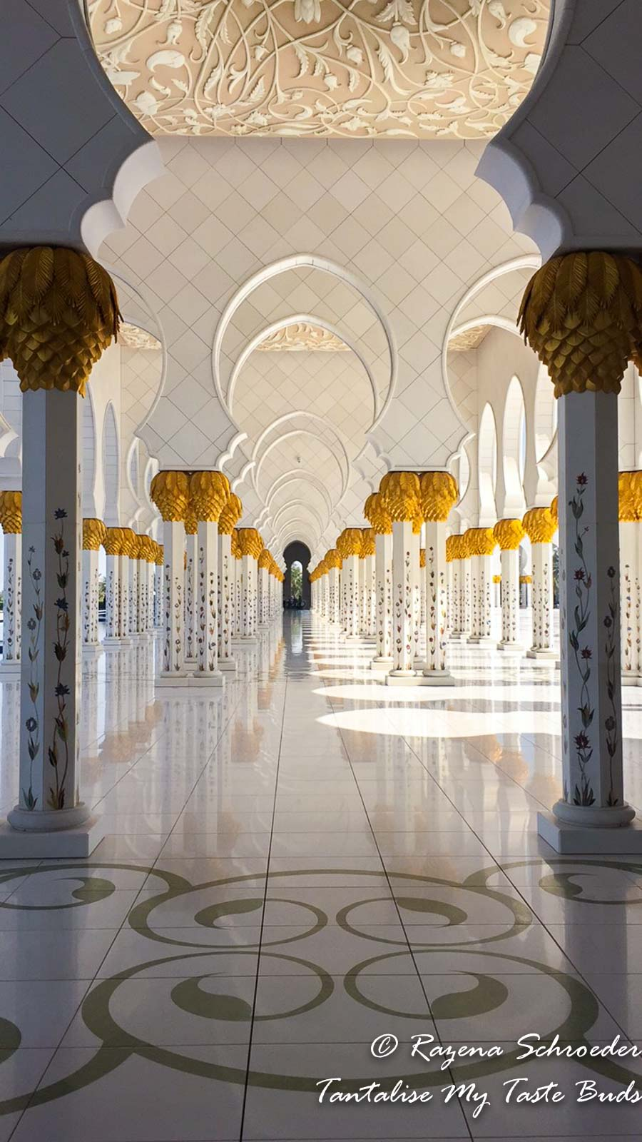 Under the arches at Shaikh Zayed Mosque Abu Dhabi