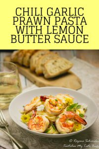 Chili Garlic Prawn Pasta with lemon butter sauce pin