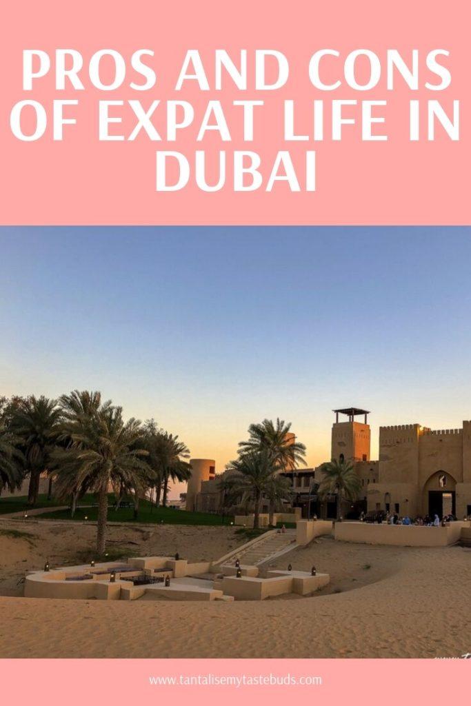 Dubai desert oasis at sunset