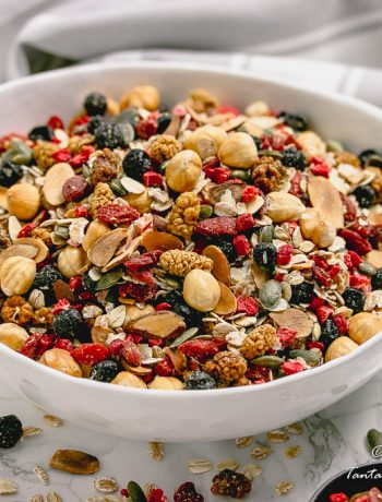Big bowl of Toasted Luxury Berry Nut Muesli