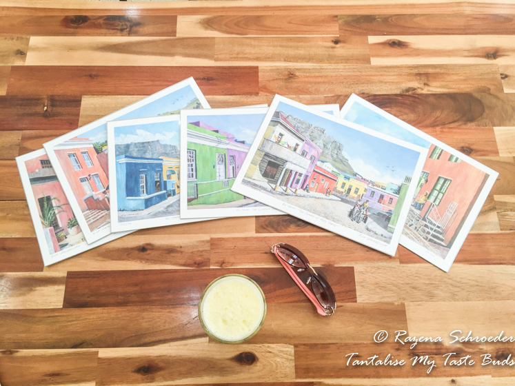 Watercolor paintings of Bo Kaap street scenes