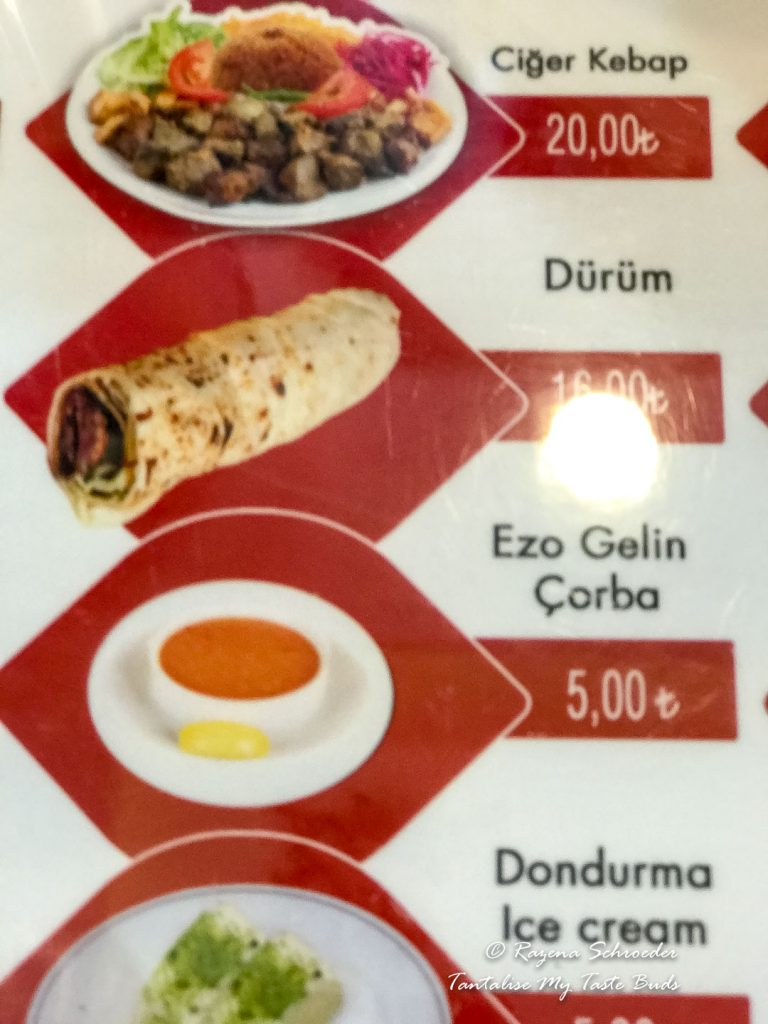 Turkish Restaurant Menu
