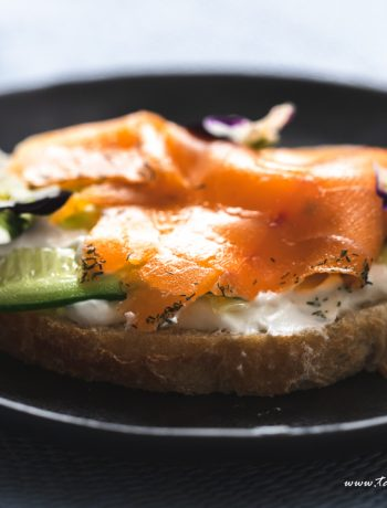 Smoked salmon and homemade labneh tartine