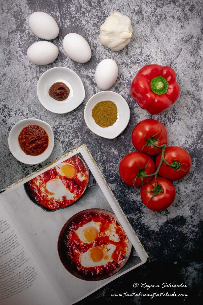 Ottolenghi's Jerusalem book and Shakshuka ingredients