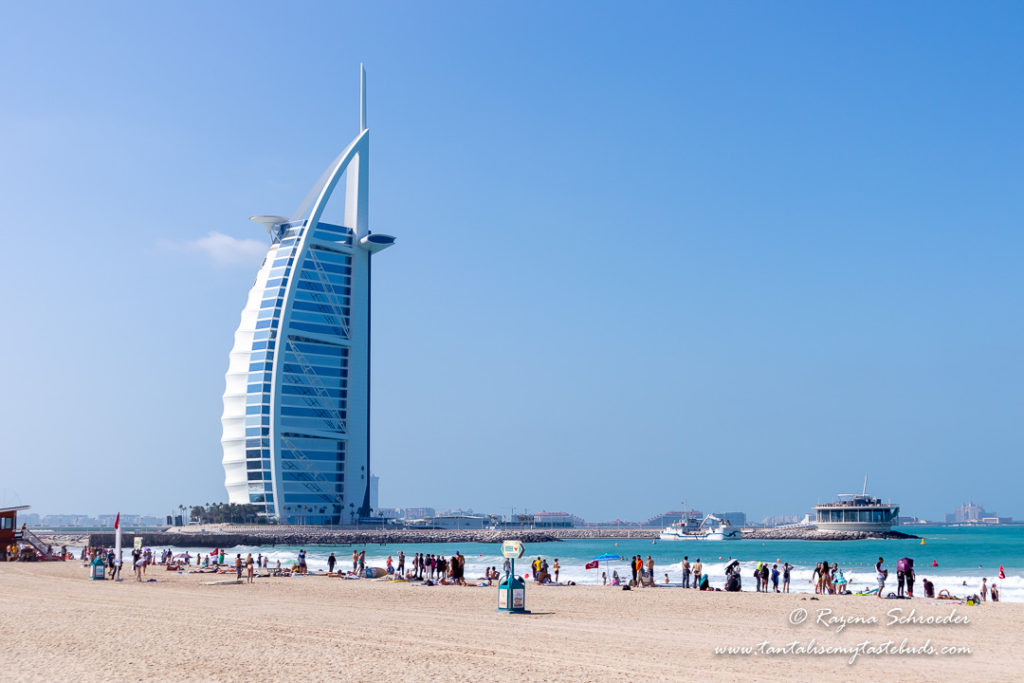 Dubai public beach view of Burj al Arab