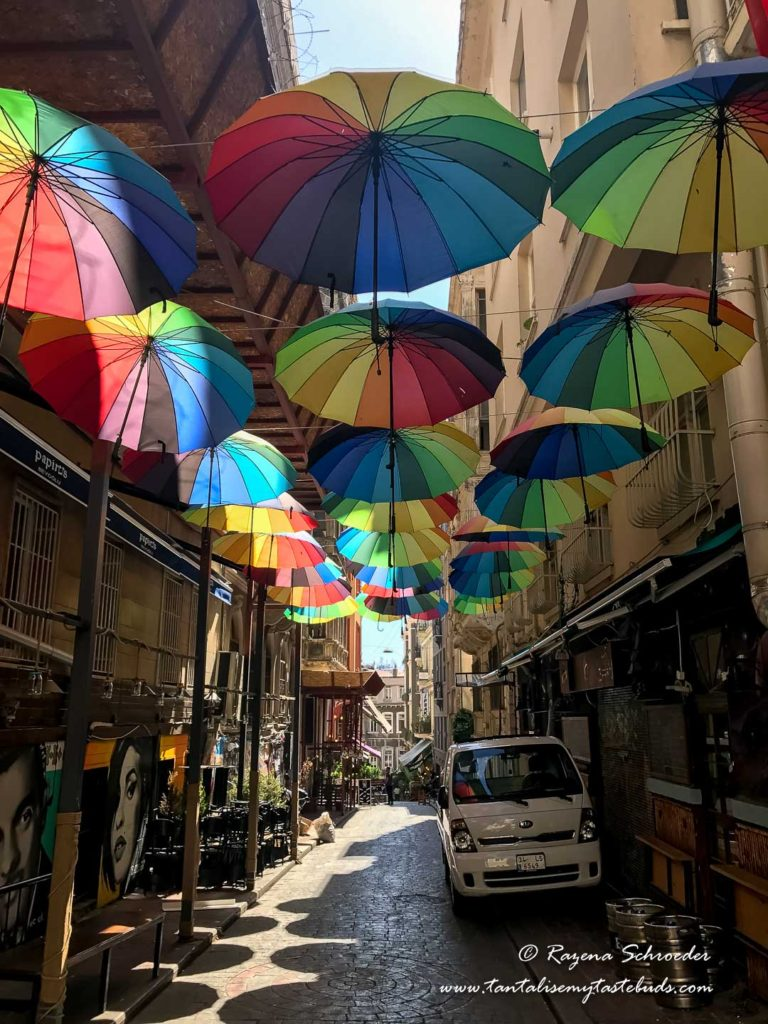 Streets of Beyoglu with umbrellas