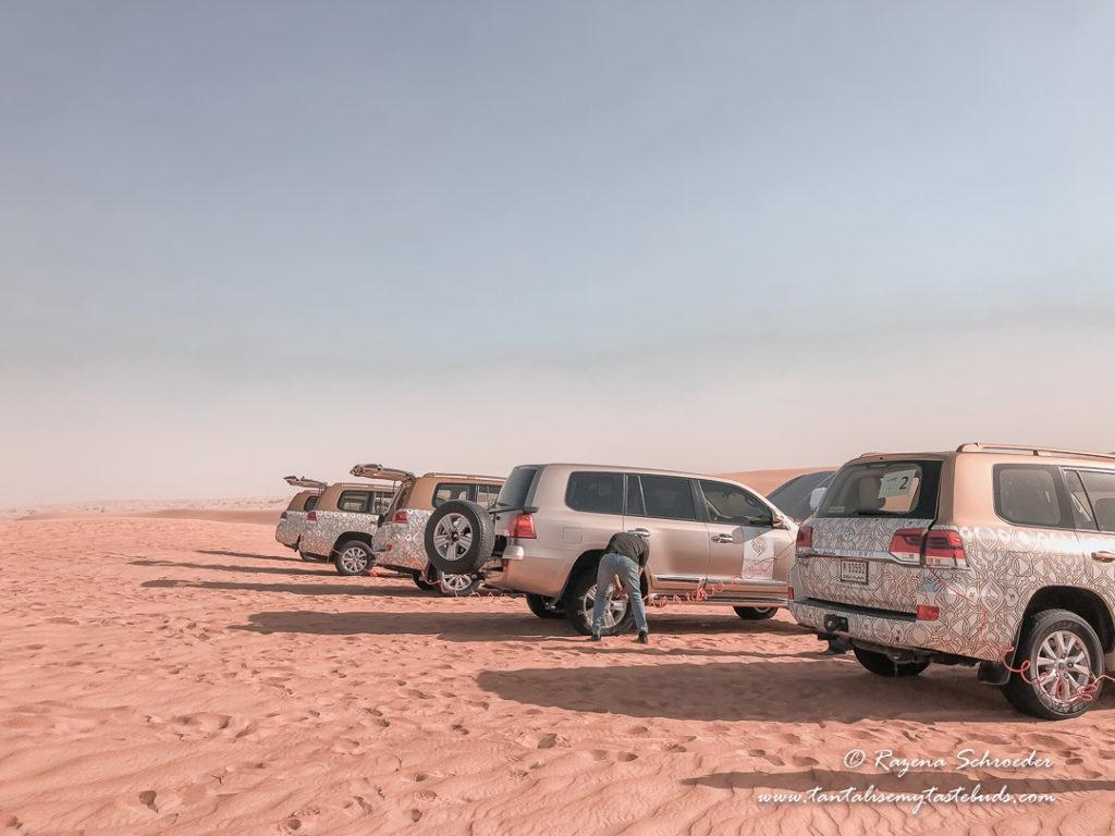 Toyota Land Cruisers after dune bashing