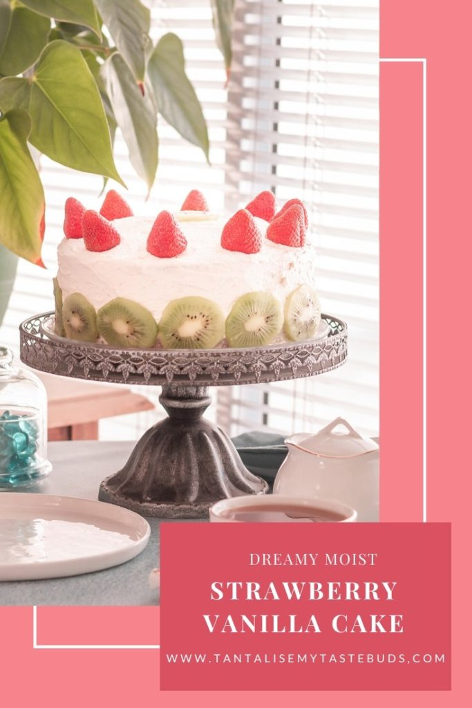 Strawberry Vanilla Cake recipe pin1