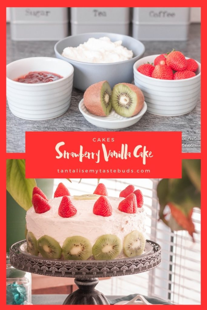 Strawberry Vanilla Cake recipe pin2