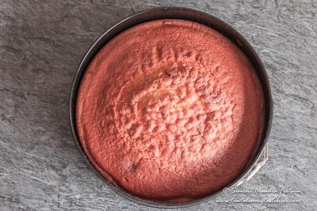 Strawberry Vanilla Cake baked in cake tin