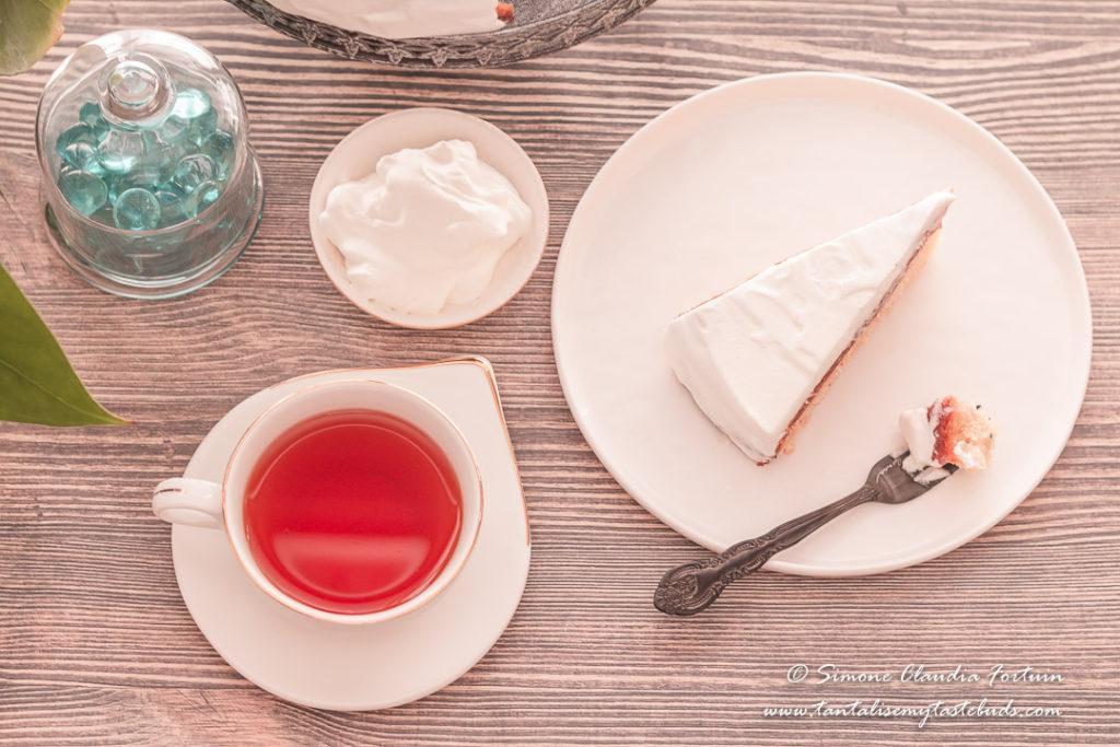 Strawberry Vanilla Cake and tea