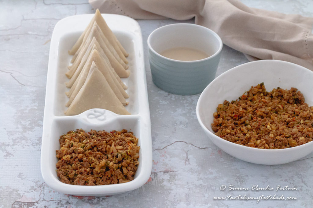 Cape Malay Mince Samoosas folded
