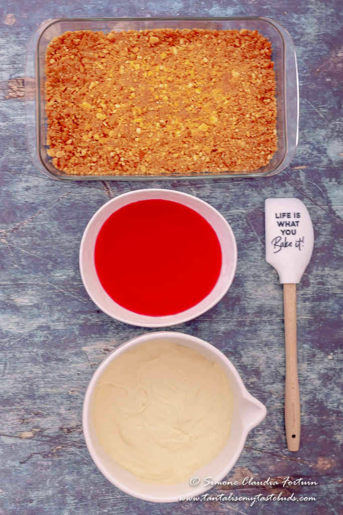 No bake Strawberry Jelly Cheesecake Slice ingredients