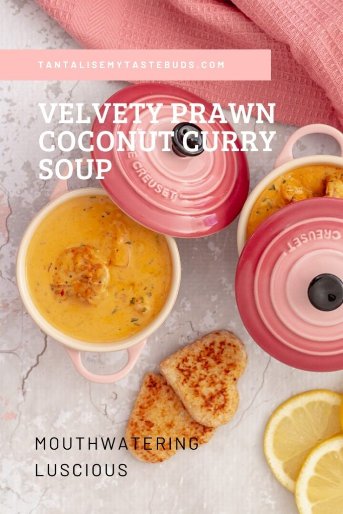 Velvety Prawn Coconut Curry soup pin1