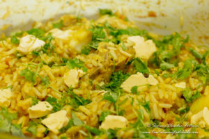 Cape Malay Chicken Akhni with butter and coriander
