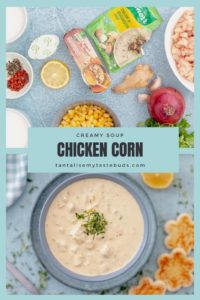 Creamy Chicken Corn soup recipe pin1