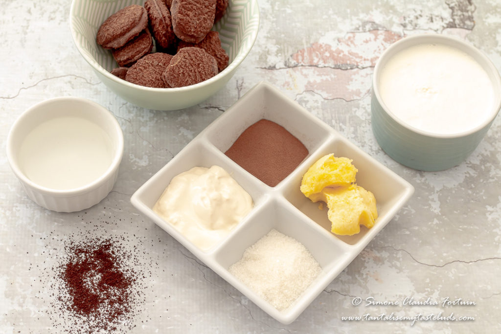 Espresso Cookies and Cream mousse ingredients