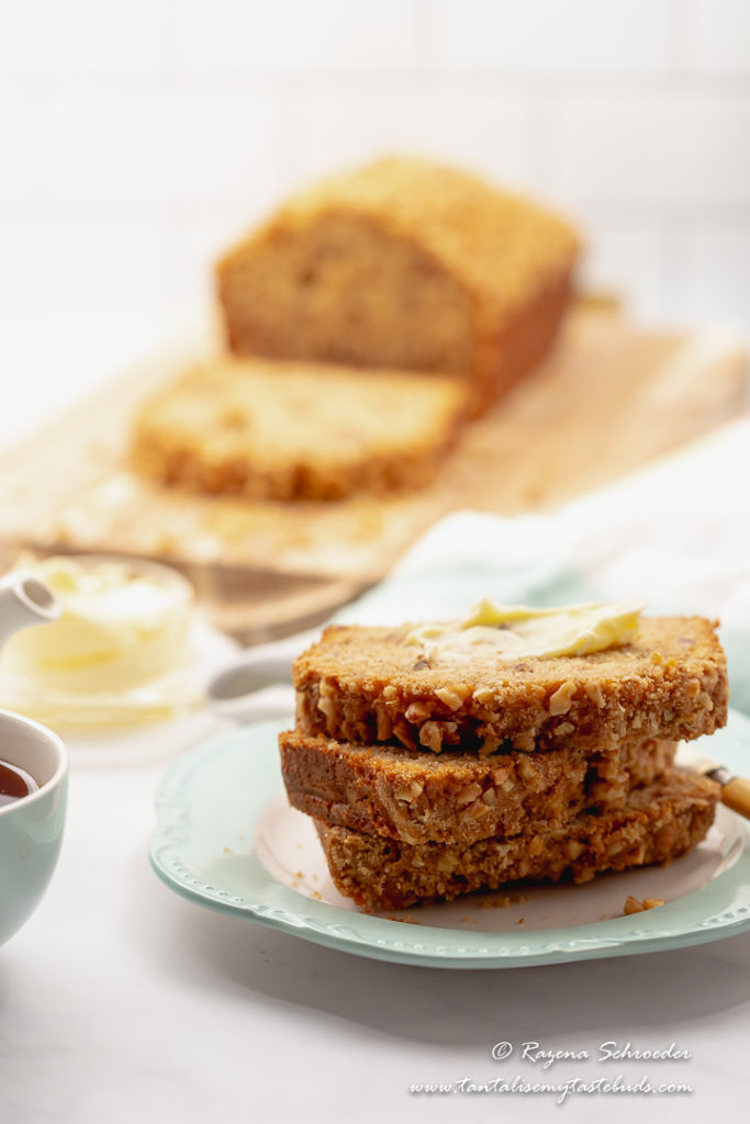 Banana bread with Self rising flour with tea for breakfast