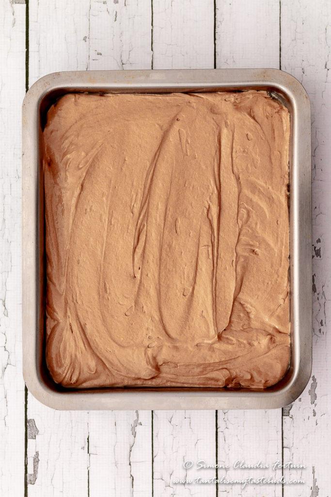 Moist chocolate slab cake ready to bake