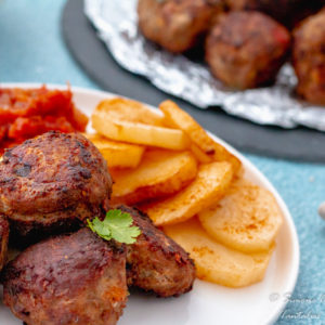 Cape Malay Mince Frikkadel recipe with yellow rice, onion tomato smoortjie and chips